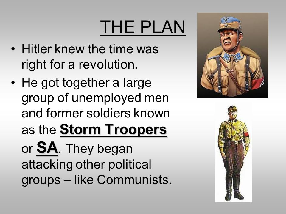 THE PLAN Hitler knew the time was right for a revolution.