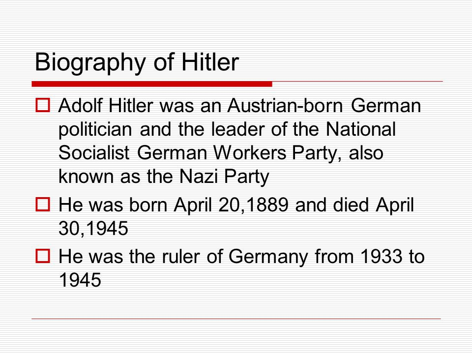 Biography of Hitler