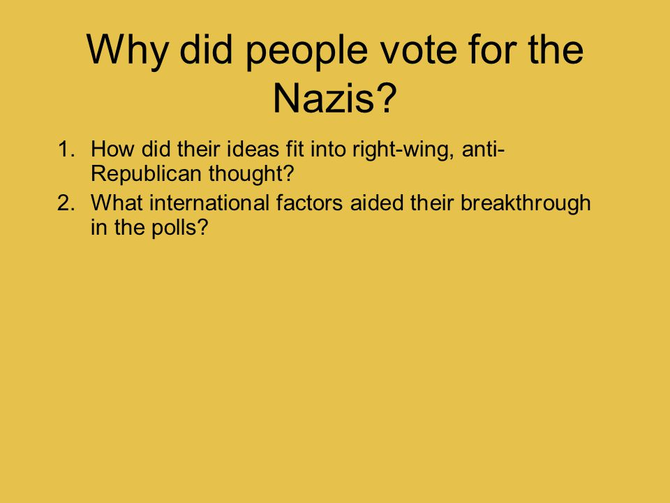 Why did people vote for the Nazis