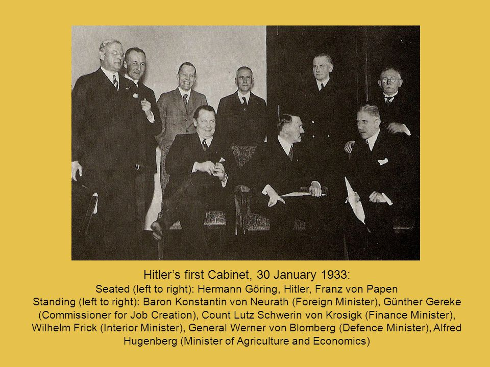 Hitler's first Cabinet, 30 January 1933: