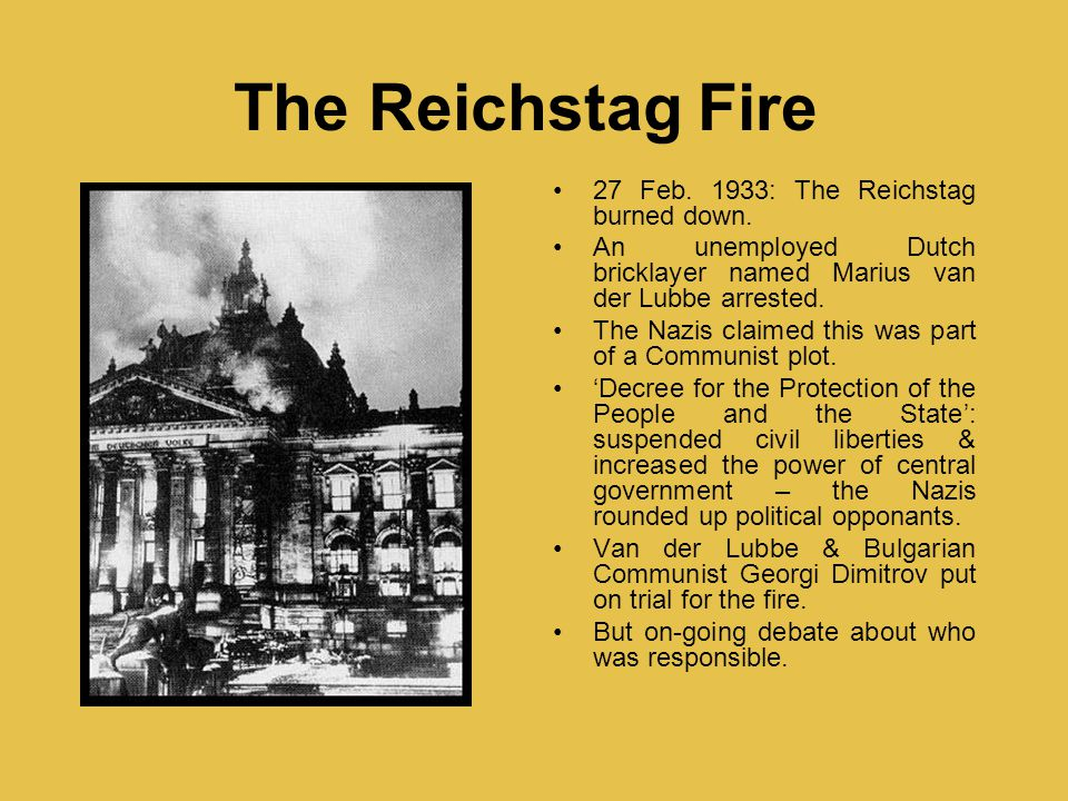 The Reichstag Fire 27 Feb. 1933: The Reichstag burned down.
