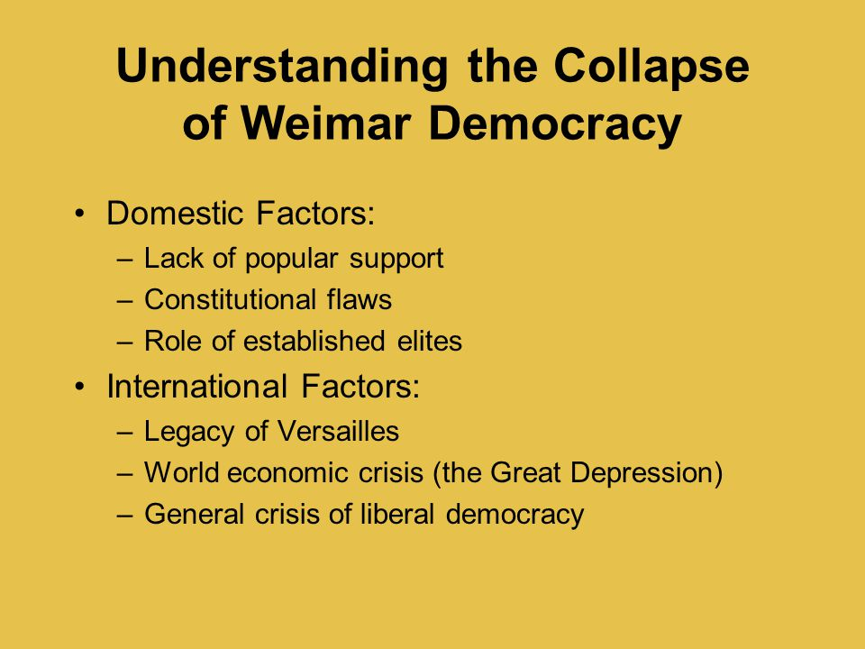 Understanding the Collapse of Weimar Democracy