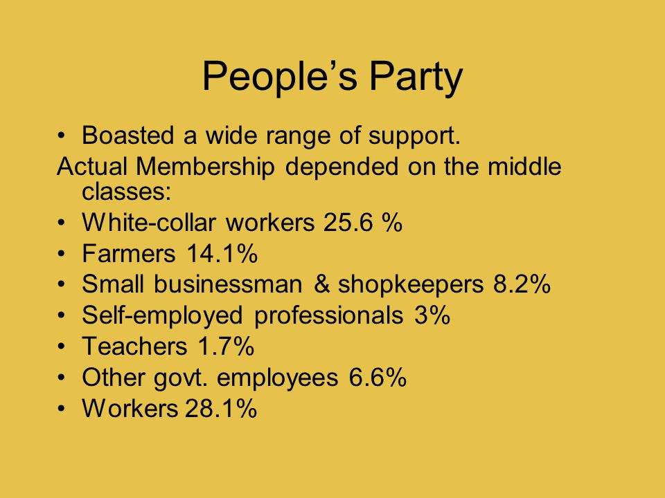 People's Party Boasted a wide range of support.