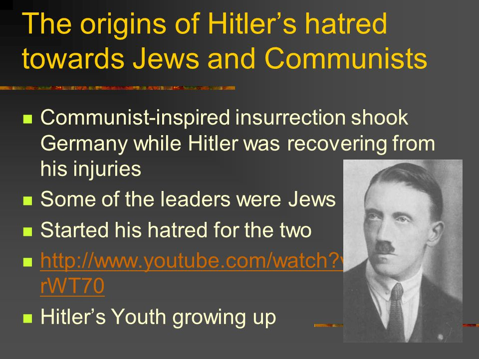 The origins of Hitler's hatred towards Jews and Communists