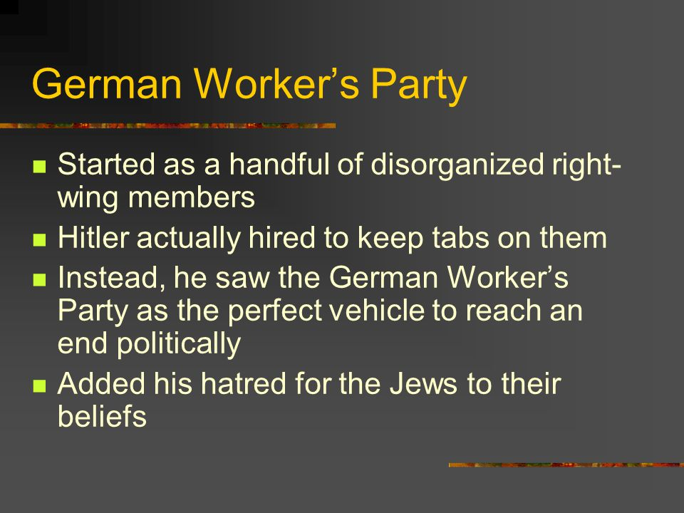 German Worker's Party Started as a handful of disorganized right-wing members. Hitler actually hired to keep tabs on them.