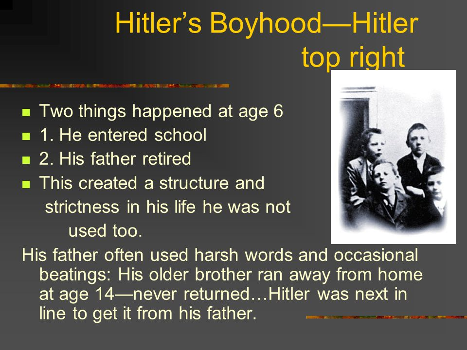 Hitler's Boyhood—Hitler top right