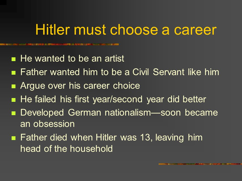 Hitler must choose a career