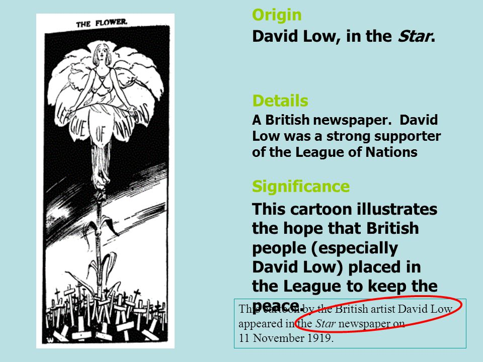 Origin David Low, in the Star. Details Significance