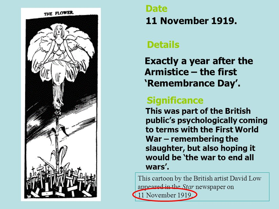 Exactly a year after the Armistice – the first 'Remembrance Day'.