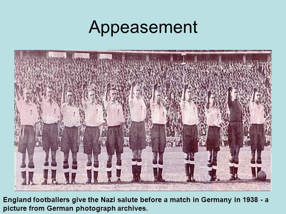 Appeasement England footballers give the Nazi salute before a match in Germany in 1938 - a picture from German photograph archives.