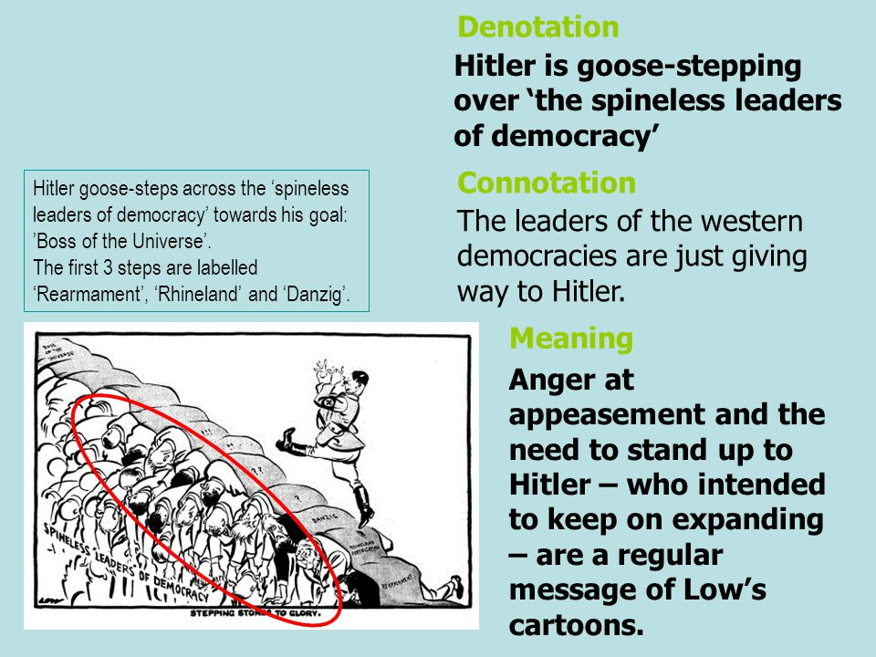 Hitler is goose-stepping over 'the spineless leaders of democracy'