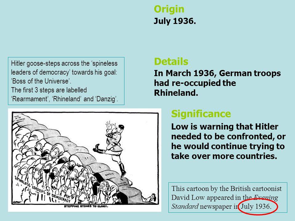 Origin Details Significance July 1936.