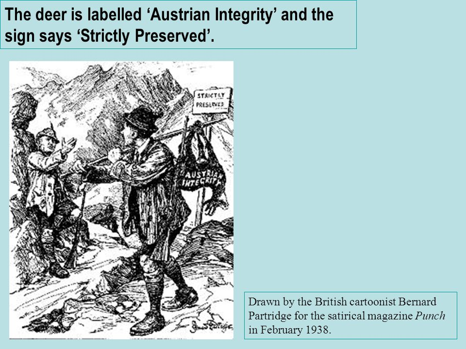 The deer is labelled 'Austrian Integrity' and the sign says 'Strictly Preserved'.