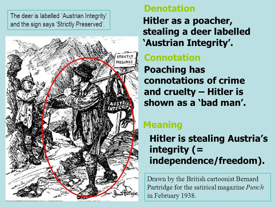 Hitler as a poacher, stealing a deer labelled 'Austrian Integrity'.