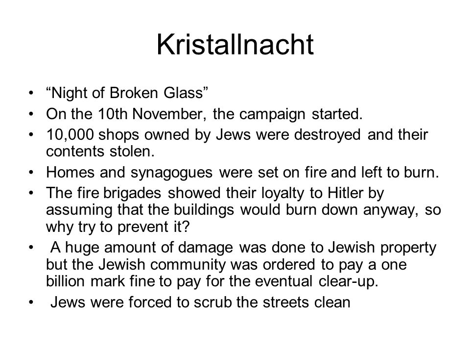 Kristallnacht Night of Broken Glass