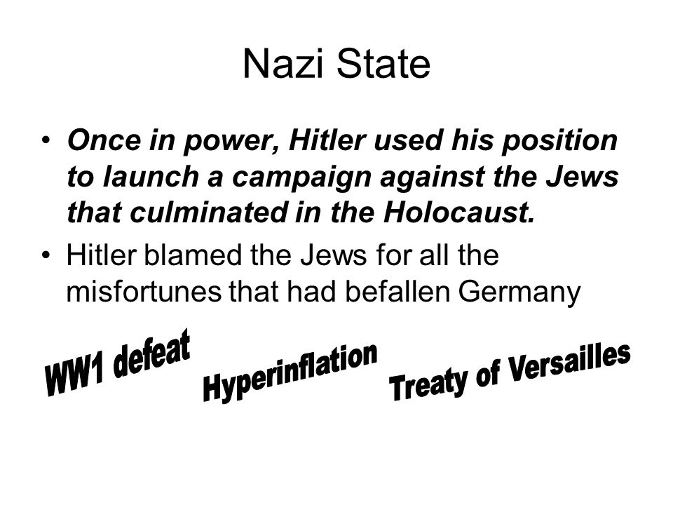 Nazi State Once in power, Hitler used his position to launch a campaign against the Jews that culminated in the Holocaust.