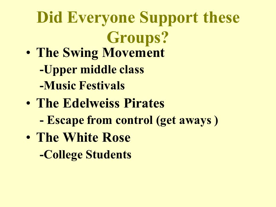 Did Everyone Support these Groups