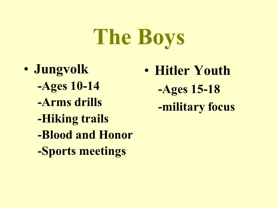 The Boys Jungvolk Hitler Youth -Ages 10-14 -Ages 15-18 -Arms drills