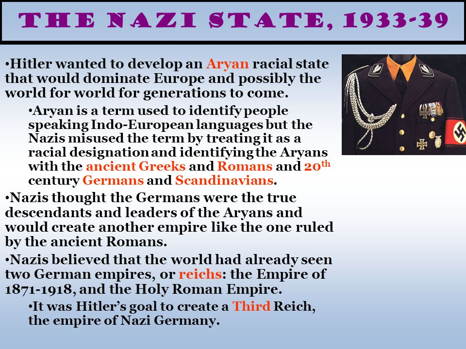 The Nazi State, 1933-39