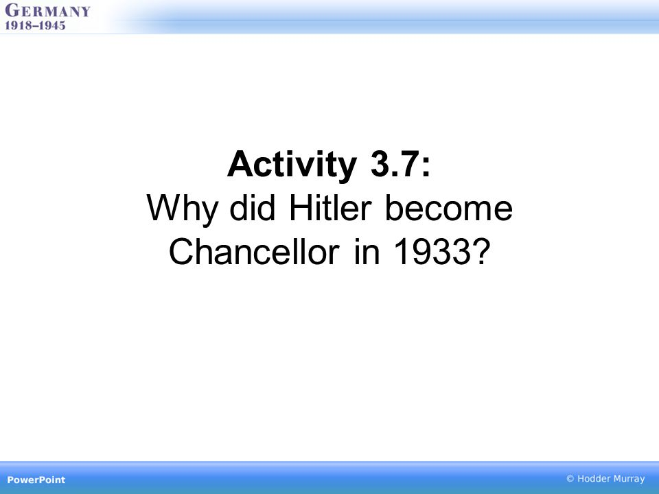 Activity 3.7: Why did Hitler become Chancellor in 1933