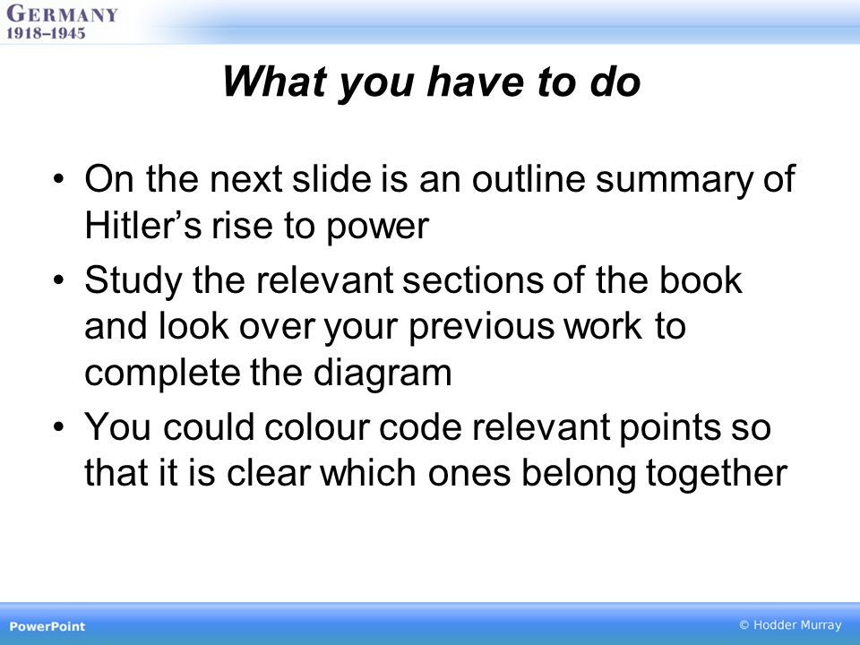 What you have to do On the next slide is an outline summary of Hitler's rise to power.