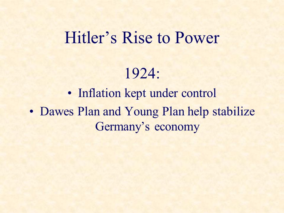 Hitler's Rise to Power 1924: Inflation kept under control