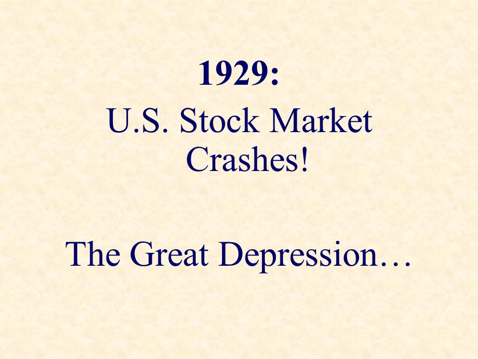 U.S. Stock Market Crashes!