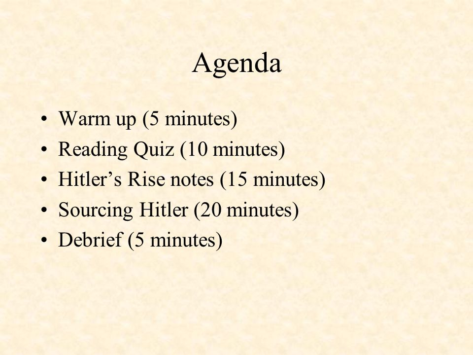 Agenda Warm up (5 minutes) Reading Quiz (10 minutes)