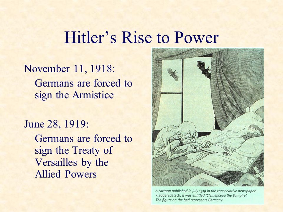 Hitler's Rise to Power November 11, 1918: