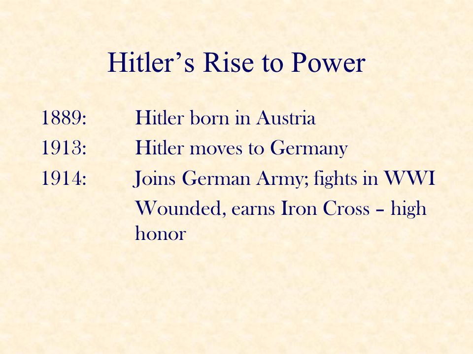 Hitler's Rise to Power 1889: Hitler born in Austria