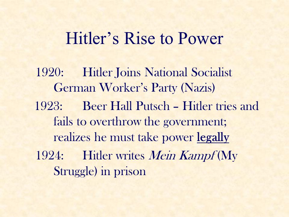 Hitler's Rise to Power 1920: Hitler Joins National Socialist German Worker's Party (Nazis)