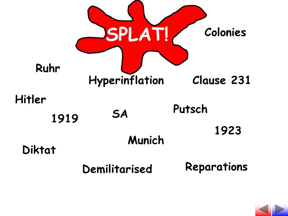 SPLAT! Colonies Ruhr Hyperinflation Clause 231 Hitler Putsch SA 1919