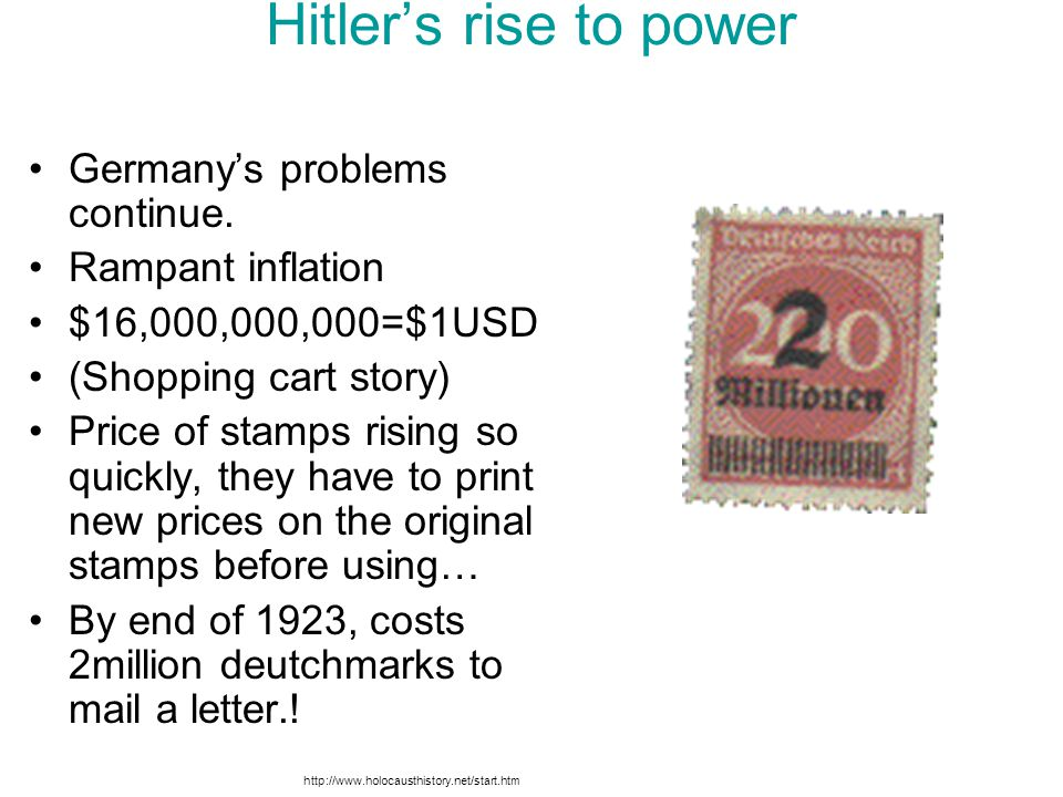 Hitler's rise to power Germany's problems continue. Rampant inflation