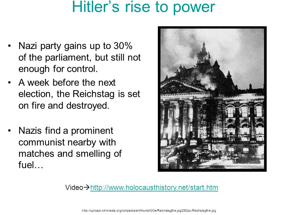 Hitler's rise to power Nazi party gains up to 30% of the parliament, but still not enough for control.