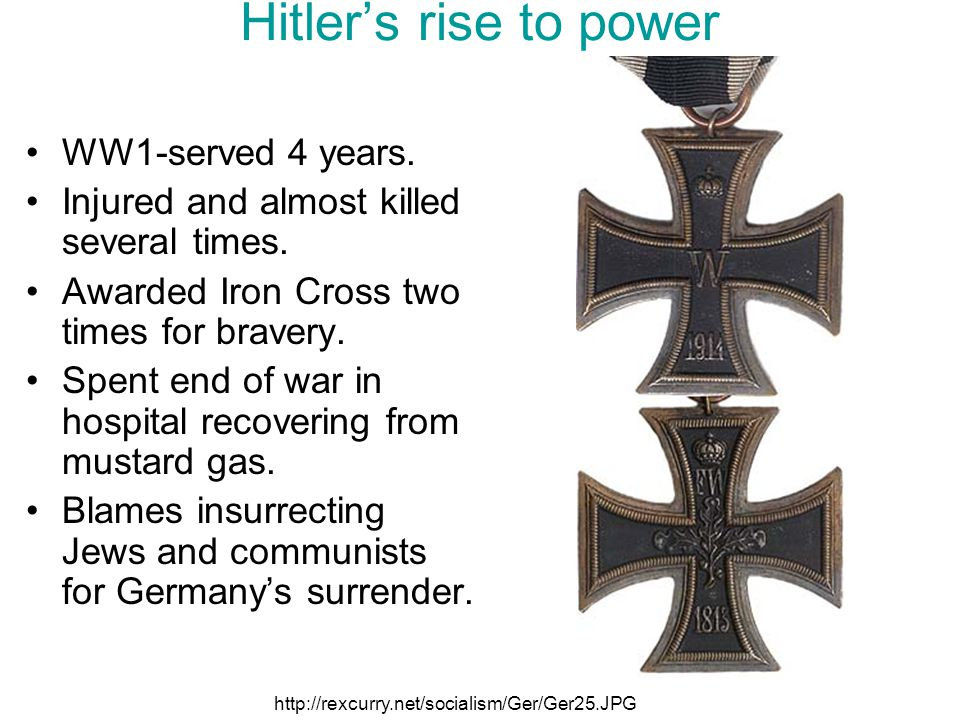 Hitler's rise to power WW1-served 4 years.