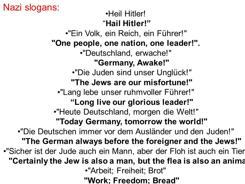 Nazi slogans: Heil Hitler! Hail Hitler!
