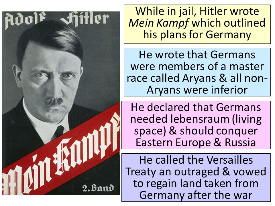 While in jail, Hitler wrote Mein Kampf which outlined his plans for Germany