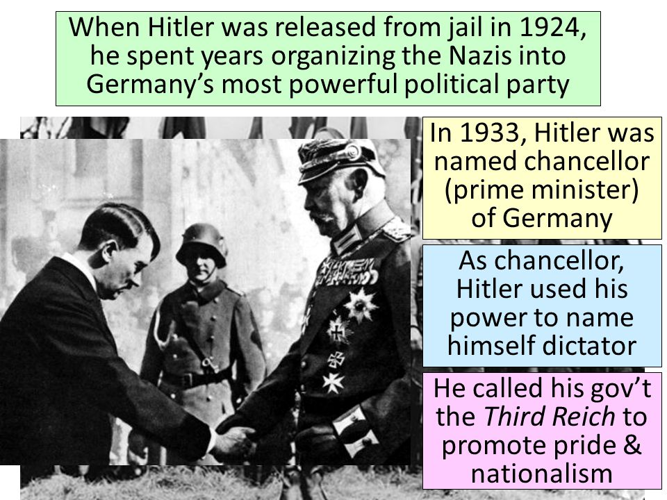 In 1933, Hitler was named chancellor (prime minister) of Germany