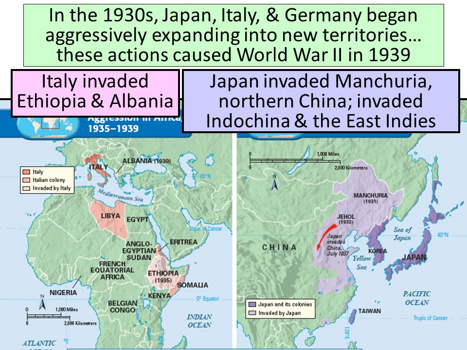 Italy invaded Ethiopia & Albania