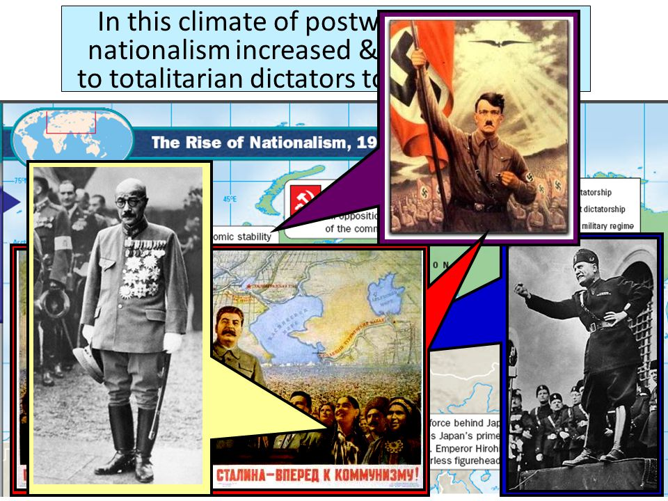 In this climate of postwar uncertainty, nationalism increased & citizens turned to totalitarian dictators to rule the nation