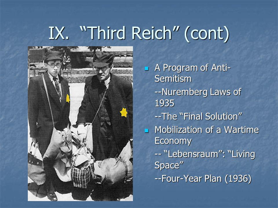 IX. Third Reich (cont)