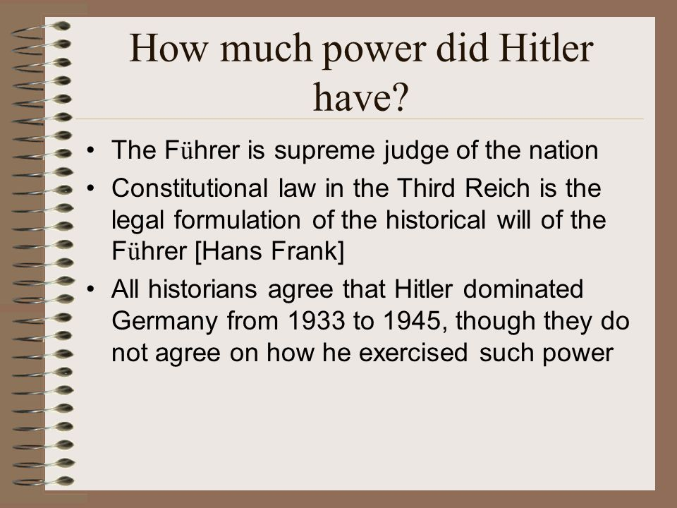 How much power did Hitler have