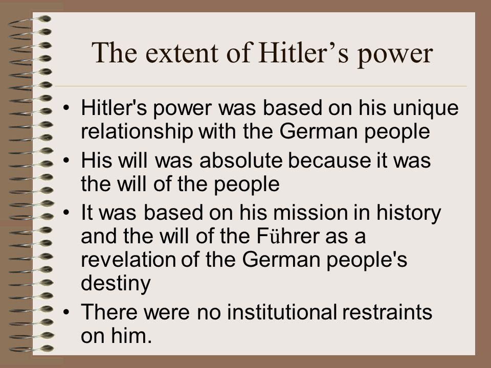 The extent of Hitler's power