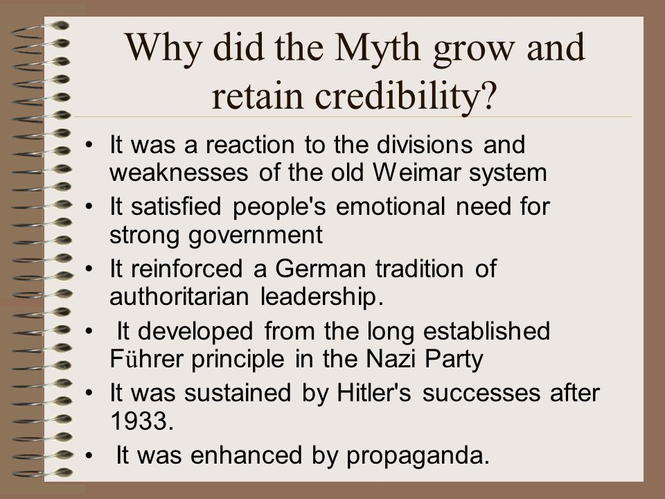 Why did the Myth grow and retain credibility