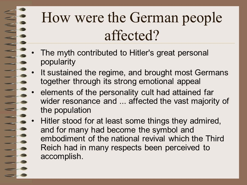 How were the German people affected