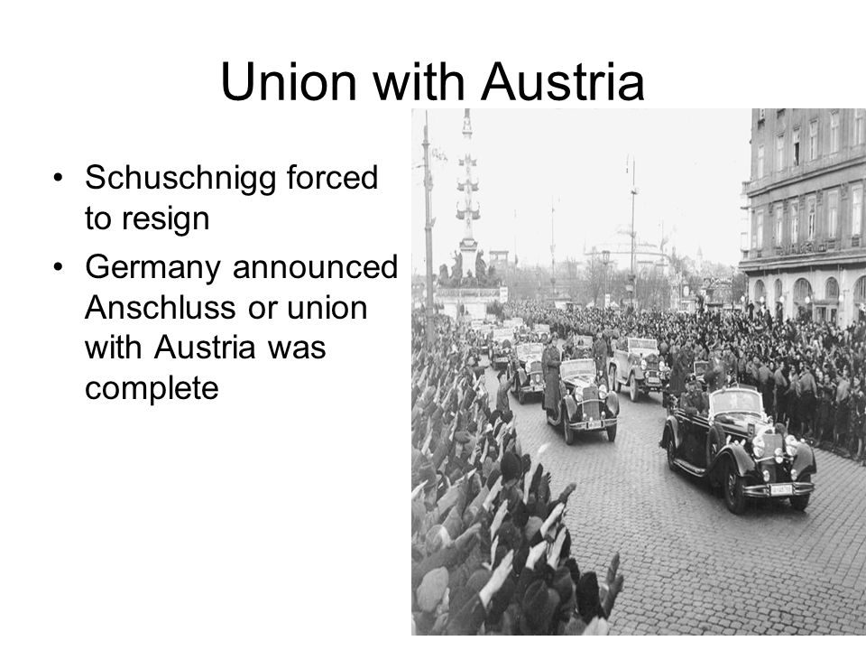 Union with Austria Schuschnigg forced to resign