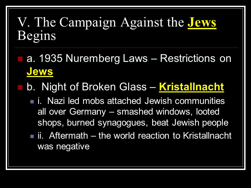 V. The Campaign Against the Jews Begins