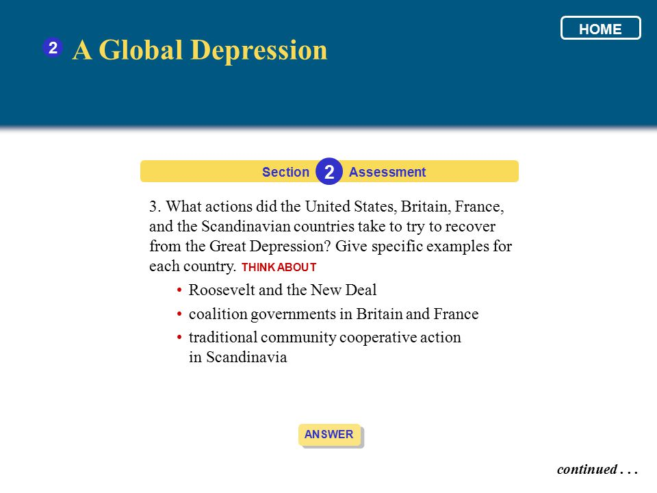 HOME 2. A Global Depression. Section. 2. Assessment.