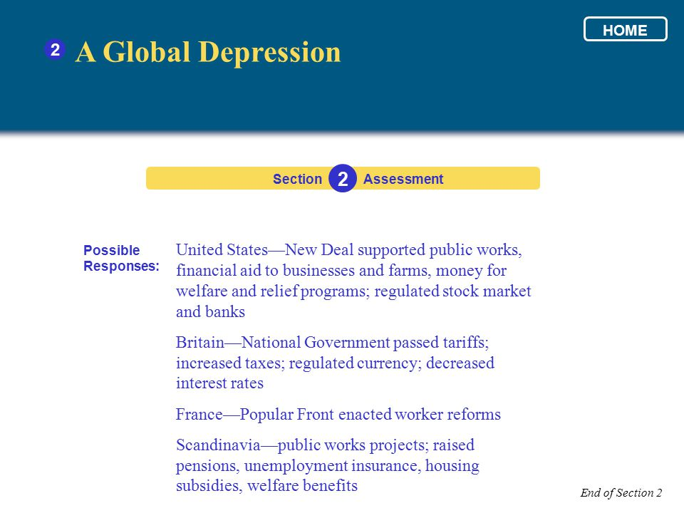 HOME 2. A Global Depression. Section. 2. Assessment. Possible Responses: