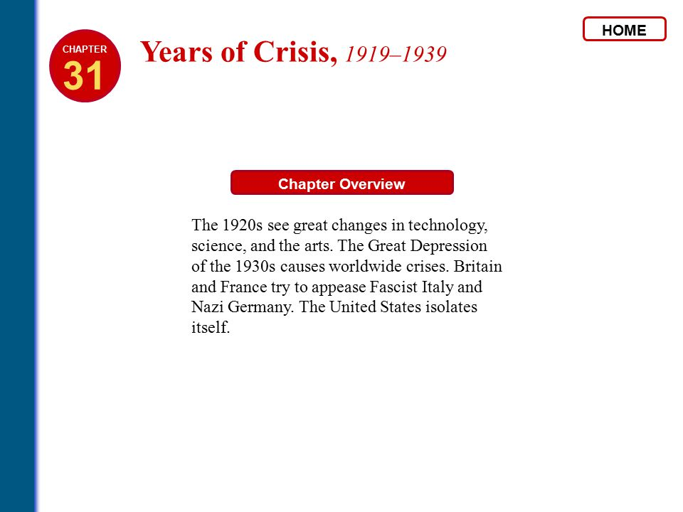 HOME 31. CHAPTER. Years of Crisis, 1919–1939. Chapter Overview.